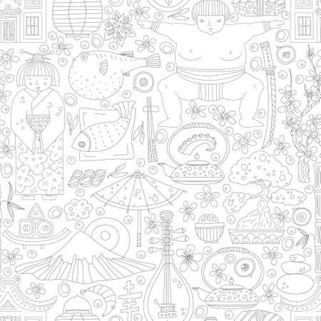 digital scrapbooking: Vector seamless pattern with hand drawn japanese symbols, including geisha, sakura, bonsai, lantern. Cute unique doodle background for digital scrapbooking, wallpapers and fabric, travel website background. Travel to Japan concept.