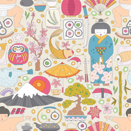 Vector seamless pattern with hand drawn japanese symbols, including geisha, sakura, bonsai, lantern. Cute unique doodle background for digital scrapbooking, wallpapers and fabric, travel website backg