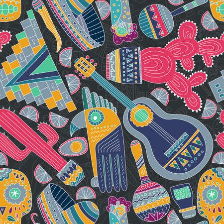 기타, 챙 넓은 모자, 데킬라, 타코, 두개골, 아즈텍 마스크, 음악 악기 - 손으로 그린 멕시코 요소와 원활한 벡터 패턴입니다. 디자인을위한 완벽한