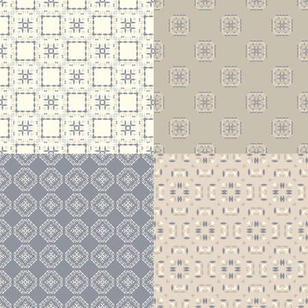 Elegant collection of four geometric seamless patterns. Ornamental background for cards, invitations, web pages. Retro texture or digital paper. Abstract modern tile. Vector