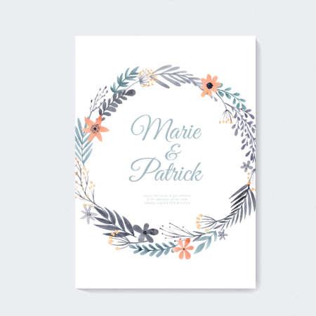 手描き水彩画花とエレガントなウェディング カード デザイン。芸術的な花夏や春のブライダル デザイン。