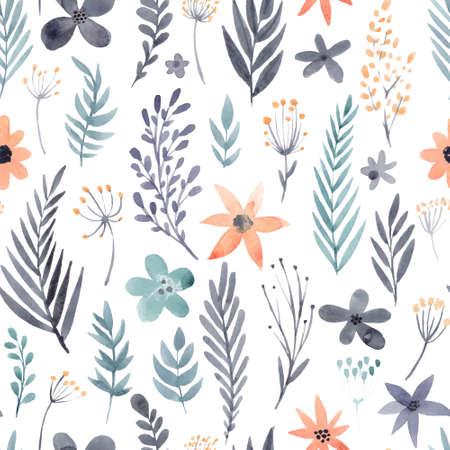 꽃 수채화 원활한 패턴입니다. 아름 다운 벡터 손 질감을 그려. 웹 페이지, 결혼식 초대장을위한 로맨틱 배경, 날짜 카드를 저장합니다. 수채화 벡터. 일러스트