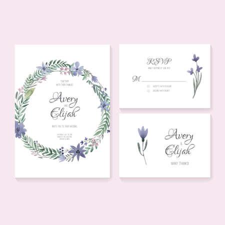 독특한 부드러운 벡터 웨딩 카드는 수채화와 템플릿. 결혼식 초대 또는 날짜, RSVP를 저장하고 신부의 설계를 위해 당신에게 카드를 감사합니다. 꽃 장