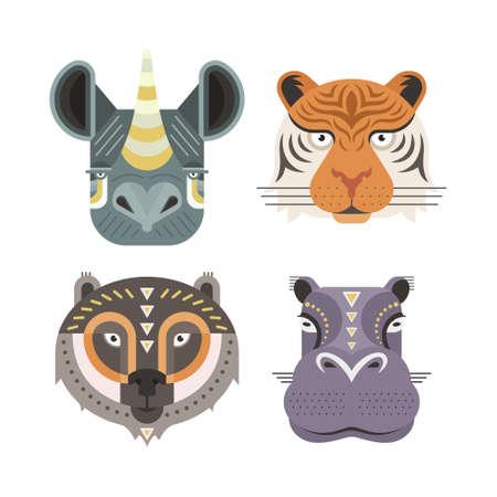 tigre caricatura: Retratos de animales realizadas en estilo plano geométrico único. Cabezas Vector de rinoceronte, el tigre, el oso, el hipopótamo. Iconos aislados para su diseño.