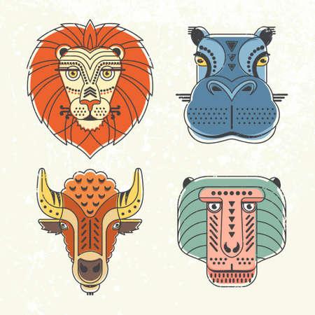 животные: Животных портреты, выполненные в уникальной геометрической плоской стиле Иллюстрация