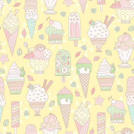 sorbet: Cute hand drawn seamless pattern with different types of ice cream