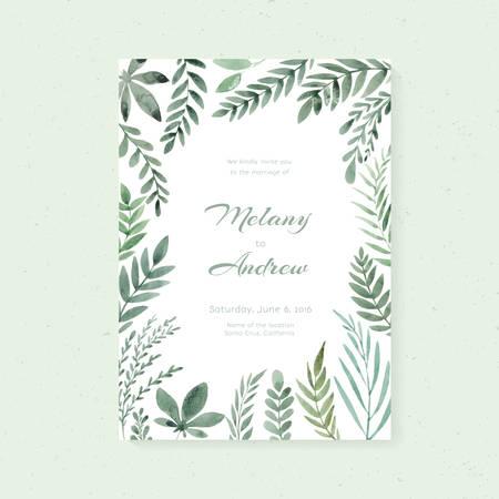 손으로 그린 수채화 꽃과 우아한 웨딩 카드 디자인