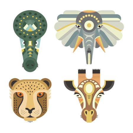 독특한 기하학적 평면 스타일에서 만든 동물 초상화. 악어, 코끼리, 치타, 기린의 머리