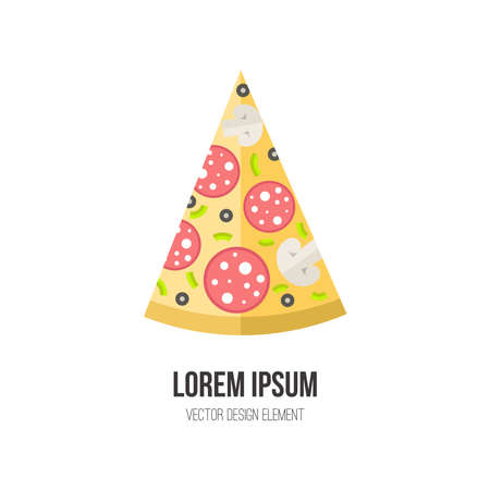 unhealthy eating: Pizza vector concept. Design element for italian restaurant menu illustration or for logotype. Flat design of food. Diet and unhealthy eating habits illustration. Illustration