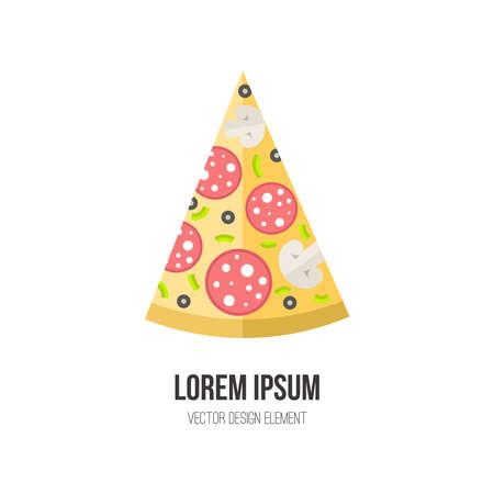 unhealthy: Vector de concepto de pizza. Elemento de dise�o para la ilustraci�n italiano men� del restaurante o para el logotipo. Dise�o plano de los alimentos. La dieta y h�bitos alimenticios poco saludables ilustraci�n.
