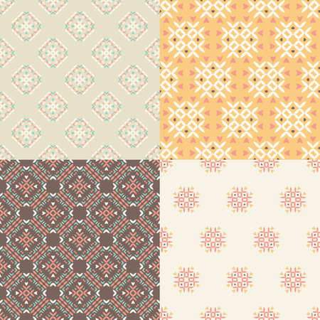 Elegant collection of four geometric seamless patterns Vector