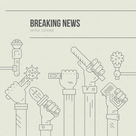 hot news: Live report illustration. Newspaper or hot news template with hands of journalists holding voice recorders and microphones. Live news vector concept with place for your text. Illustration