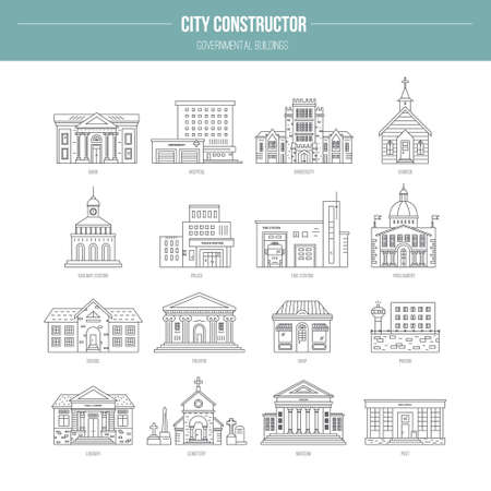 church building: Collection of goverment building icons made in modern line style. Vector city elements for map, web or application. City constructor series.