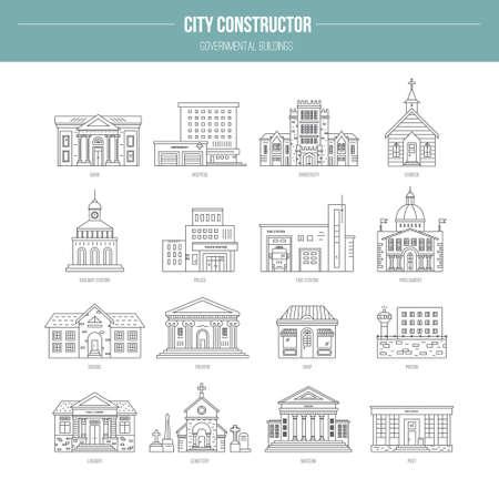 Verzameling van de overheid gebouw pictogrammen in een moderne lijn stijl. Vector stad elementen voor kaart, web of applicatie. Stad constructeur serie. Stock Illustratie
