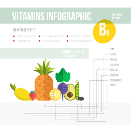 vitamine: Healthy lifestyle infographic - vitamine B9 in fruits and vegetables. Vegeterian and diet vector concept. Illustration