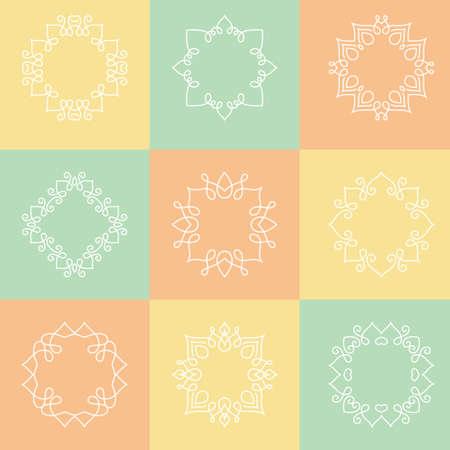 logo element: Collection of monochrome monogram design templates. Floral logo design element. Elegant ornamental abstract vector illustration. Outline emblems and badges. Hipster logotype templates.