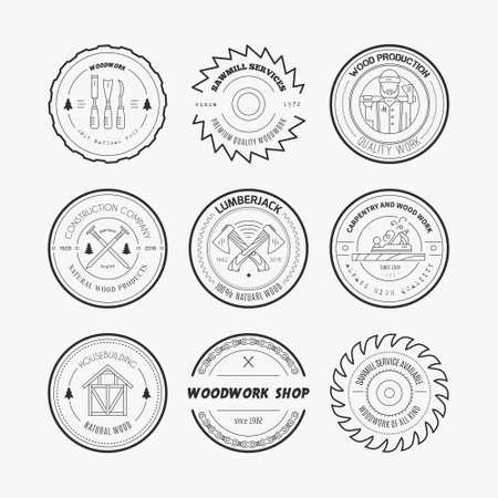 herramientas carpinteria: Conjunto de logotipos de carpinter�a de la vendimia hechos en vector. Poste y plantillas de etiquetas fabricaci�n. Emblemas detalladas con elementos de la industria de la madera y herramientas de carpinter�a. Insignias de la carpinter�a con texto de ejemplo para su negocio.