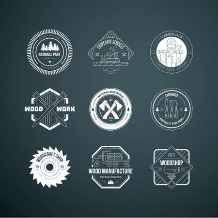 Set of vintage carpentry logotypes made in vector. Wood work and manufacture label templates. Detailed emblems with timber industry elements and carpentry tools. Woodworking badges with sample text for your business. Çizim