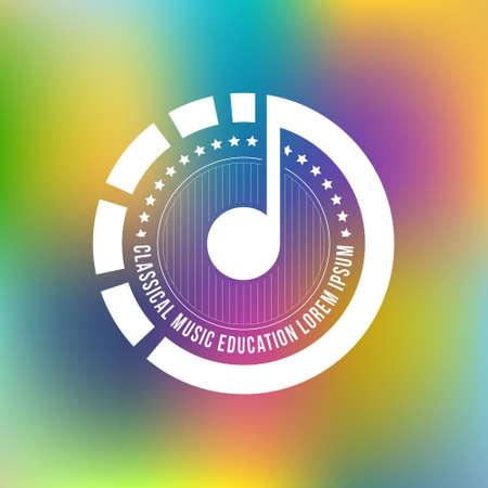 Logotipo moderno per il festival di musica, banda, scuola di musica o studio di registrazione su sfondo sfocato. Isolato elemento di design made in vettoriale. Archivio Fotografico - 41997251