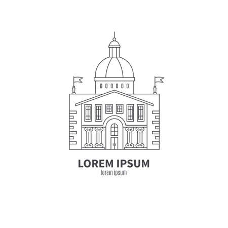 governmental: Parliament building made in line style vector. Modern isolated design element for map, logotype and other types of design. Governmental symbol on white background. City constructor series.
