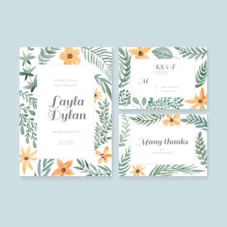 花飾り付きベクトル水彩画ポストカード コレクション。結婚式の招待状やブライダル デザインの日付、RSVP とありがとうカードを保存します。