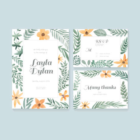 Vector watercolor postcard collection with floral decoration. Wedding invitation or save the date, RSVP and thank you card for bridal design.