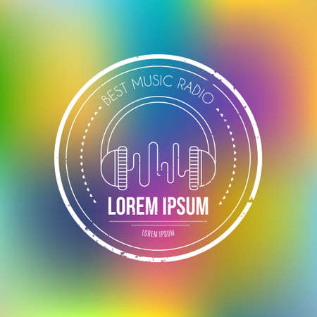 music emblem: Isolated music design element made in vector. Modern logotype for music festival, band, music school or recording studio on blurred background.