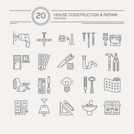 Vector colección de iconos de reparación de la casa, incluyendo las herramientas eléctricas, de plomería. Modernos etiquetas de estilo de línea de la casa de engranajes remodelación y elmenets. Construcción, conctruction diseño gráfico. Herramientas de reparación para la web y aplicaciones.