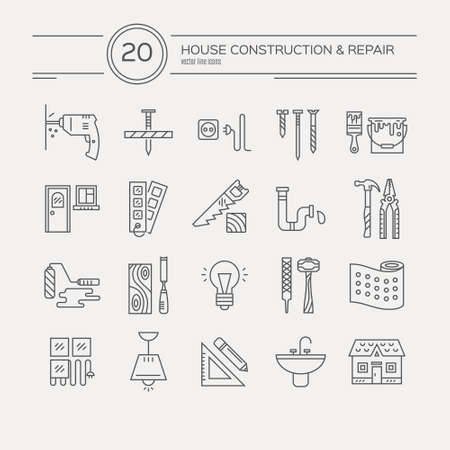 carpintero: Vector colección de iconos de reparación de la casa, incluyendo las herramientas eléctricas, de plomería. Modernos etiquetas de estilo de línea de la casa de engranajes remodelación y elmenets. Construcción, conctruction diseño gráfico. Herramientas de reparación para la web y aplicaciones.