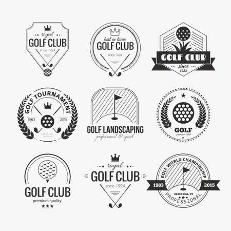 klubok: Állítsa be a golf klub logó sablonok. Hipster sport címkéket a minta szöveg. Elegáns vintage ikonok golfversenyek, szervezetek és golfütő. Vector embléma tervezés. Illusztráció