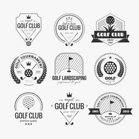 golf ball: Set of golf club logo templates. Hipster sport labels with sample text. Elegant vintage icons for golf tournaments, organizations and golf clubs. Vector logotype design.