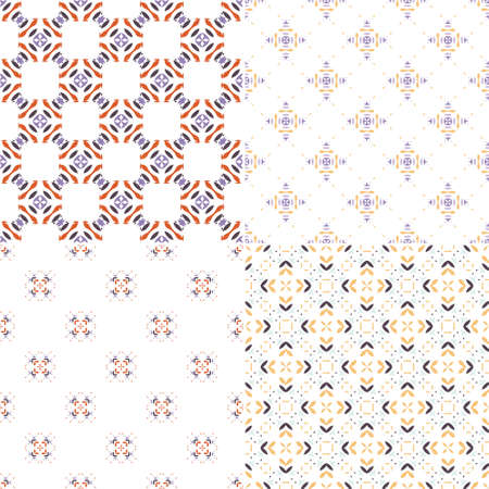 abstract shape: Graphical collection of four geometric seamless patterns. Ornamental background for cards, invitations, web pages. Retro texture or digital paper. Abstract modern tile.