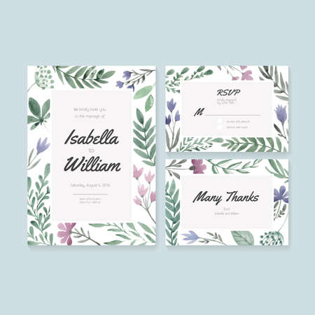 Wedding cards template with watercolor florals. Vector watercolor postcard collection with floral decoration. Illustration