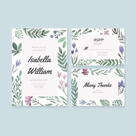 despedida de soltera: Tarjetas de boda plantilla con flores de acuarela. Vector colecci�n de postales de la acuarela con la decoraci�n floral.