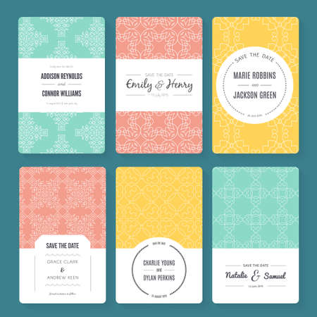 nuptial: Ornamental vector card templates. Ideal for Save The Date, baby shower, mothers day, valentines day, birthday cards, invitations.