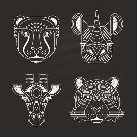 leopard: Animal portraits made in unique geometrical flat style. Vector heads of cheetah, rhino, giraffe and tiger on chalkboard. Isolated icons for your design.