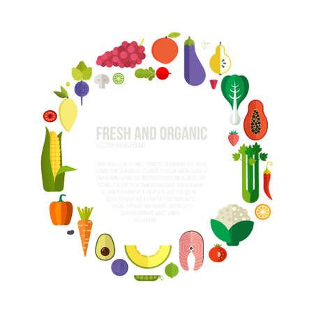 식이 요법과 유기농 식품 템플릿입니다. 평면 과일, 야채, copyspace와 건강한 먹는 벡터 개념. 건강 잡지, 요리 웹 사이트 및 레스토랑 뉴스 레터에 아주