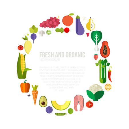 Diet and organic food template. Healthy eating vector concept with flat fruits, vegetables and copyspace. Great for healthy magazines, cooking web sites and restaurant newsletters. Çizim