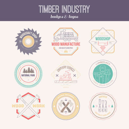 woodworking: Set of vintage carpentry logotypes made in vector. Wood work and manufacture label templates. Detailed emblems with timber industry elements and carpentry tools. Woodworking badges with sample text for your business. Illustration