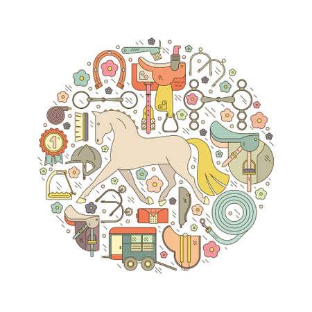 Style de ligne graphique coloré conceptuel équine avec des éléments différents, y compris l'exécution équitation cheval, selle, peu, casque et autres engins. Vecteur équestre. Materiel d'équitation. Banque d'images - 42012487