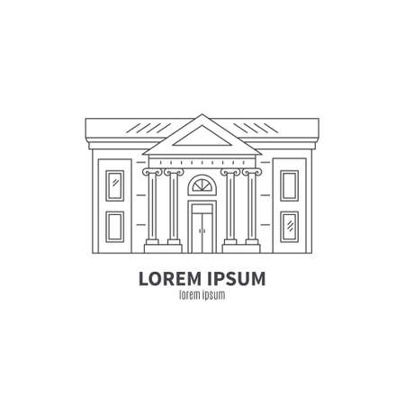 art museum: Classical building architecture made in line style vector. Theatre, museum or art gallery modern logo template.City constructor series. Illustration