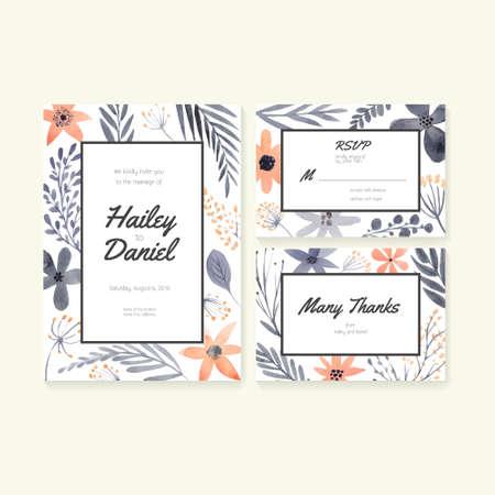 結婚式の招待状やブライダル デザインの日付、RSVP とありがとうカードを保存します。花飾り付きベクトル水彩画ポストカード コレクション。