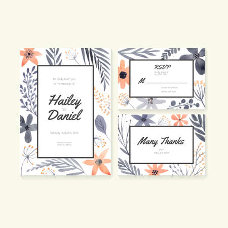 Wedding invitation or save the date, RSVP and thank you card for bridal design. Vector watercolor postcard collection with floral decoration.