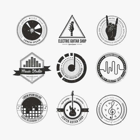 Collection of music logos made in vector. Recording studio labels hipster style. Podcast and radio badges with sample text. Vintage t-shirt design elements with musical elements - guitar, horns. Sound production logotypes. Ilustração