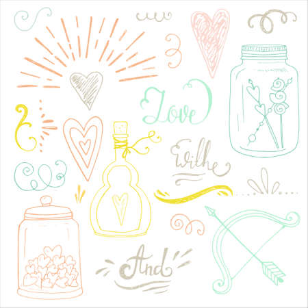 catchword: Romantic vector elements. Hand drawn typography, sketched jars and hearts and other objects for valentines card, save the date or wedding card. Illustration