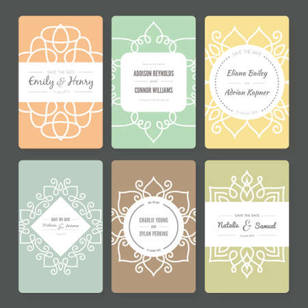 save: Ornamental vector card templates. Ideal for Save The Date, baby shower, mothers day, valentines day, birthday cards, invitations.