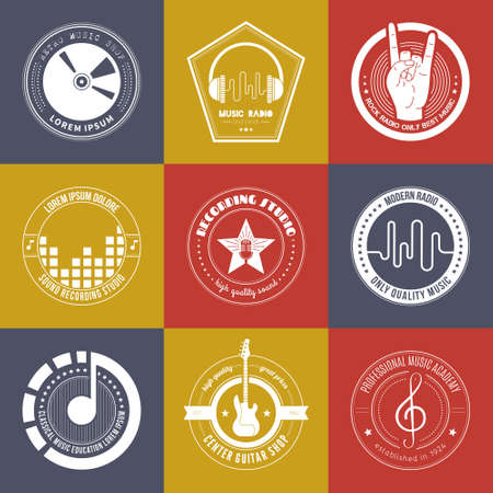 Collection of music logos made in vector. Recording studio labels hipster style. Podcast and radio badges with sample text. Vintage t-shirt design elements with musical elements - guitar, horns. Sound production logotypes. 矢量图像