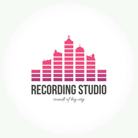 recording: Abstract logo for music band, radio, broadcasting or recording studio. Creative equalizer that resembles a big city made in vector. Illustration