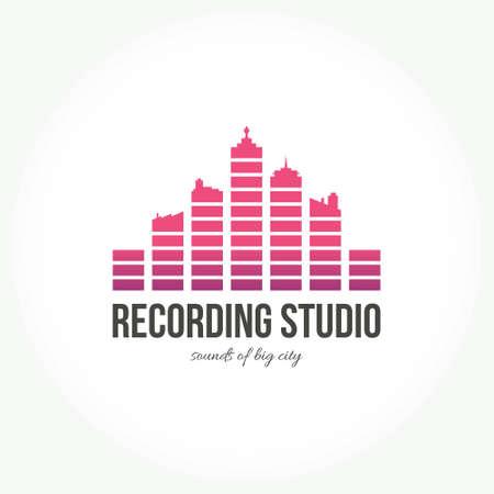 recording studio: Abstracte logo voor muziek band, radio, omroep of opnamestudio. Creative equalizer die een grote stad in vector lijkt. Stock Illustratie
