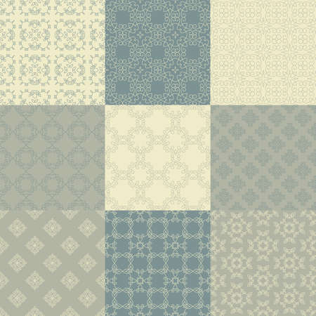 9 ベクターのシームレスな幾何学的パターンのコレクションです。ビンテージ テクスチャ。カード、招待状、web デザインの装飾的な背景は。レトロ
